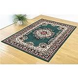 ウィルトン織 ラグマット/絨毯 【グリーン】 160cm×230cm 長方形 メダリオン柄 ウズベキスタン製 通年使用可