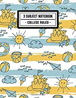 3 Subject Notebook College Ruled: Beach 3 Subject Notebook College Ruled | 150 Pages | 8.5x11