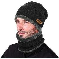 VBIGER VBIGER 2-Pieces Winter Beanie Hat Scarf Set Warm Knit Hat Thick Knit Skull Cap for Men Women, VBIGER 2-Pieces Winter Beanie Hat Scarf, Black, One Size