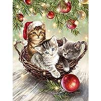 DIYクロスステッチキットダイヤモンド絵画5D塗装キット、クリスマス動物ネコ子猫WOWDECORフルドリルDIYダイヤモンドアートペイント数字油絵 (ネコ)