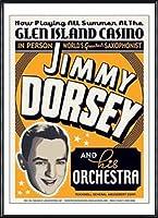 ポスター ジミー ドーシー ジミー ドーシー - グレン アイランド カジノ、1936 額装品 アルミ製ハイグレードフレーム(ブラック)