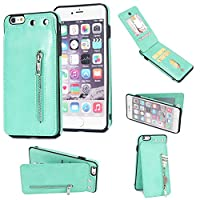 iPhone 6s Plus/iPhone 6 Plus Zipper Wallet Case, AICOO Shockproof Leather Case with Credit Card Holder Slot Zipper Pocket Wallet Cover Phone Protective Case for iPhone 6s Plus/iPhone 6 Plus,Mint