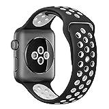ナイキ スポーツ LEEHUR Apple Watchベルト 運動風耐汗シリカゲル アップルウォッチバンド 新型Nike Apple Watch Series 2/Series 1 に対応 (42mm, �&白)