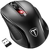 Qtuo 2.4G ワイヤレスマウス 無線マウス 5DPIモード 2400DPI 高精度 ボタンを調整可能 コンパクト 省エネルギー 持ち運び便利 ブラック