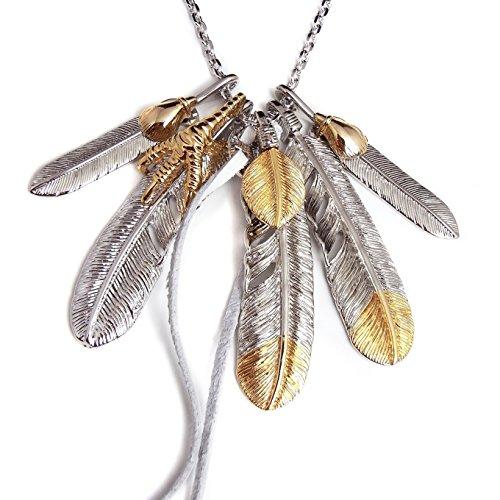[해외]인기 남성 브랜드 SBG MIX5 매 깃털 목걸이 가죽 끈 금 은색 날개 펜던트 EXILE TAKAHIRO/Popular men`s brand SBG MIX 5 feather necklace leather string gold silver wings pendant top EXILE TAKAHIRO