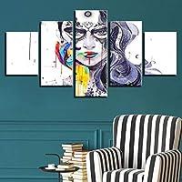 WLHBH 部屋の装飾画、壁の装飾画水彩抽象女性油絵5モジュールキャンバス絵画リビングルームの廊下装飾絵画-40x60 40x80 40x100cm,枠なし