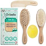 Chibello 4 Piece Wooden Baby Hair Brush and Comb Set Natural Goat Bristles Brush for Cradle Cap Treatment Wood Bristle Brush for Newborns and Toddlers Perfect for Baby Shower and Registry
