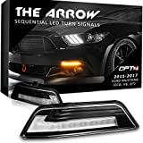 Arrow Sequential Mustang LED Front Turn Signal Pair w/Switchback DRL for 15-17 - White Amber Light Left Right [Diffused]