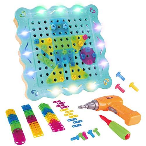 LITTLE COW おもちゃ 子供用 電動ドリル ネジ 積み木 ツールボックス カラフル 組み立て セット 知育玩具 誕生日 プレゼント (200PCS)