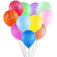 CCINEE 誕生日 カラフル 風船 バルーン Happy birthday カラーアソート 100個入り(贈り物:Happy Birthdayカード 1枚)