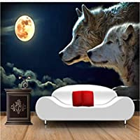 Jason Ming 3Dステレオムーンライトオオカミウォールペーパー壁画写真壁紙用リビングルーム家の装飾フレスコ画-150X120Cm