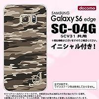 SC04G スマホケース Galaxy S6 edge カバー ギャラクシー S6 エッジ イニシャル 迷彩B 茶B nk-sc04g-1171ini A