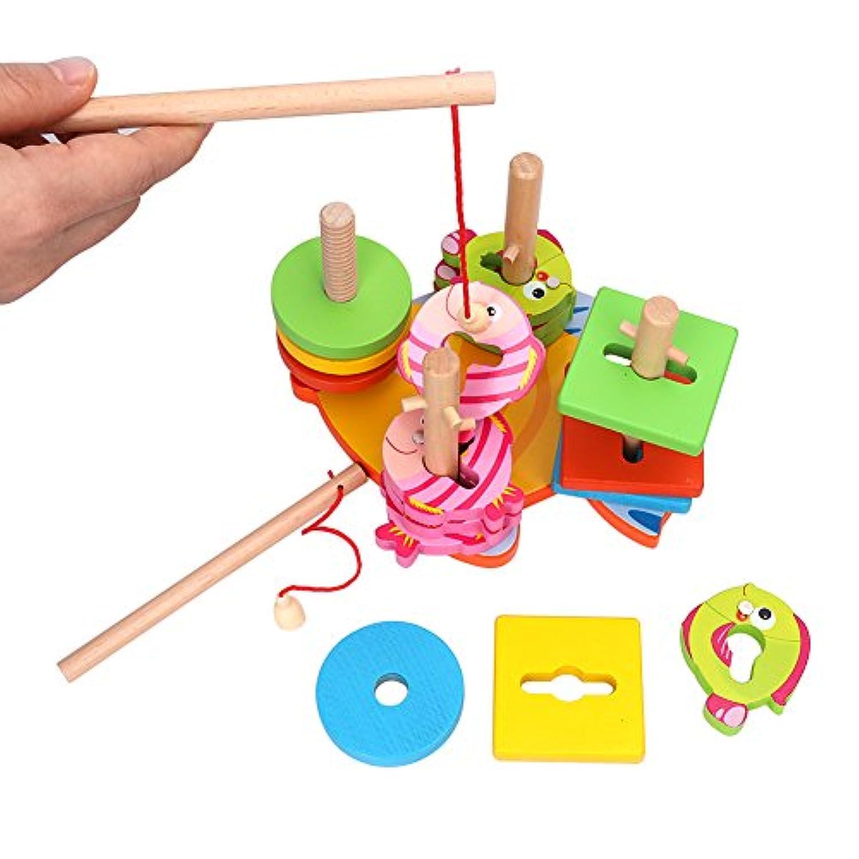 bidlsbs面白い子供おもちゃ木製Peggedパズル磁気釣りゲーム子供教育玩具色認識Shape Sorter Geometicブロックおもちゃのギフト赤ちゃん幼児少年少女3 Years and Up