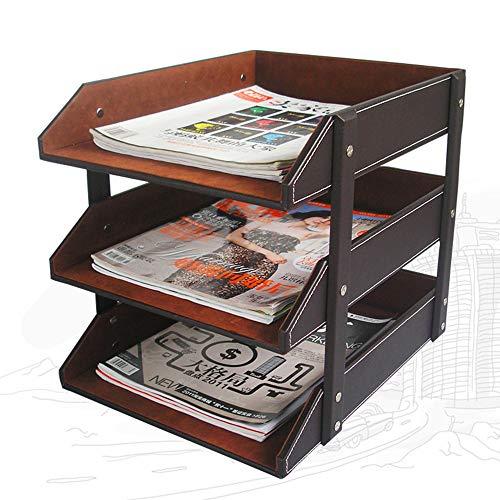 CIKA 書類トレー 書類収納 レターケース 卓上収納ラック 3段 ファイルボックス A4 PU材 高級感 ブラウン
