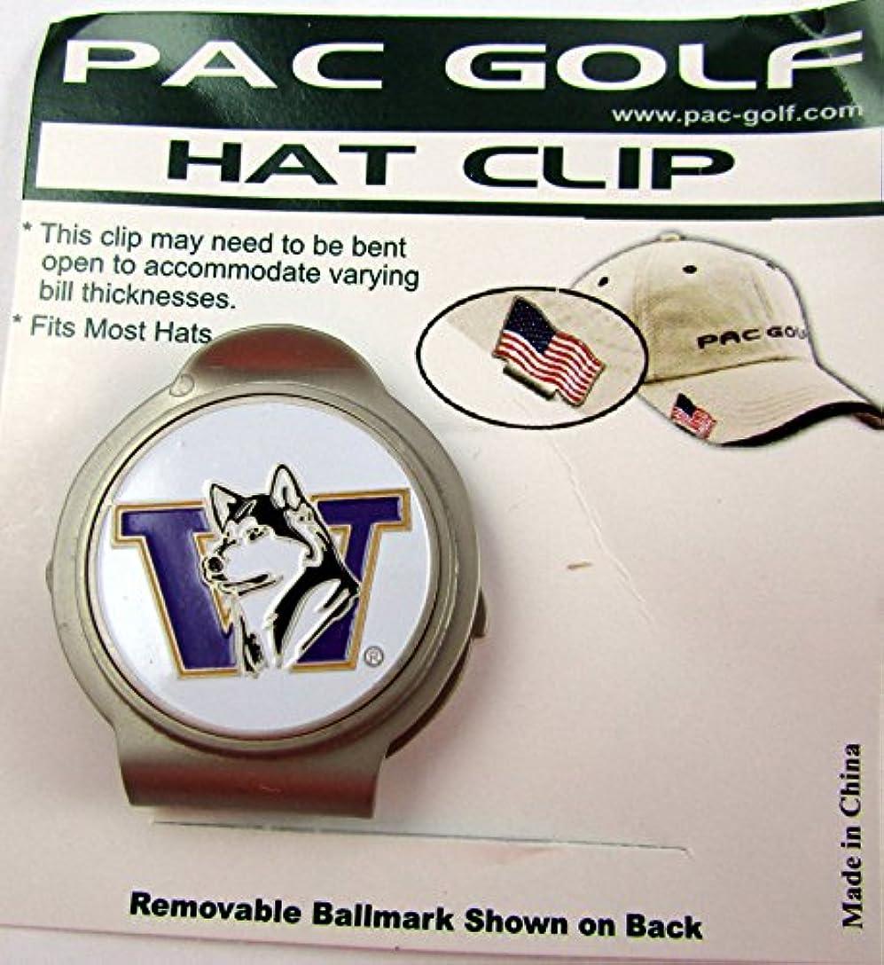 司教礼拝アナリストPacゴルフHatclip W / Ballmarkボールmarkballmarker NCAA Washington Huskiesホワイト