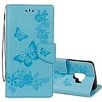SGJFZD サムスンギャラクシーS9フリップレザーケースのカードスロット&ホルダー&財布&ストラップビンテージエンボス加工花蝶のパターン水平 (サイズ : Sas1302l)