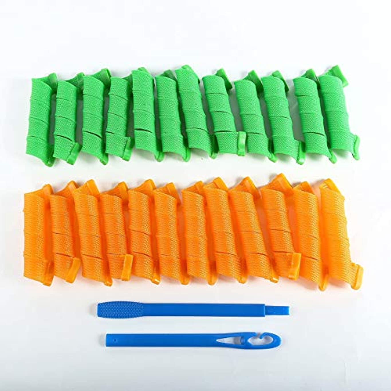 可塑性決済通貨AFAEF HOME 24PCS(30CM)ロングスパイラルカールツールマジックリングレット髪カーラービューティスパイラルCurls-ワンサイズ