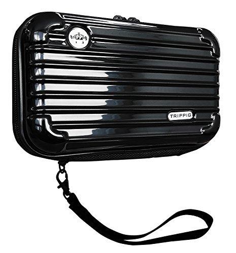 (トリップピッグ) TRIPPIG スマホ 通帳 ケース ポーチ/スーツケース 型 旅行 バッグ ミニ キャリーバッグ 全6色 (ブラック)