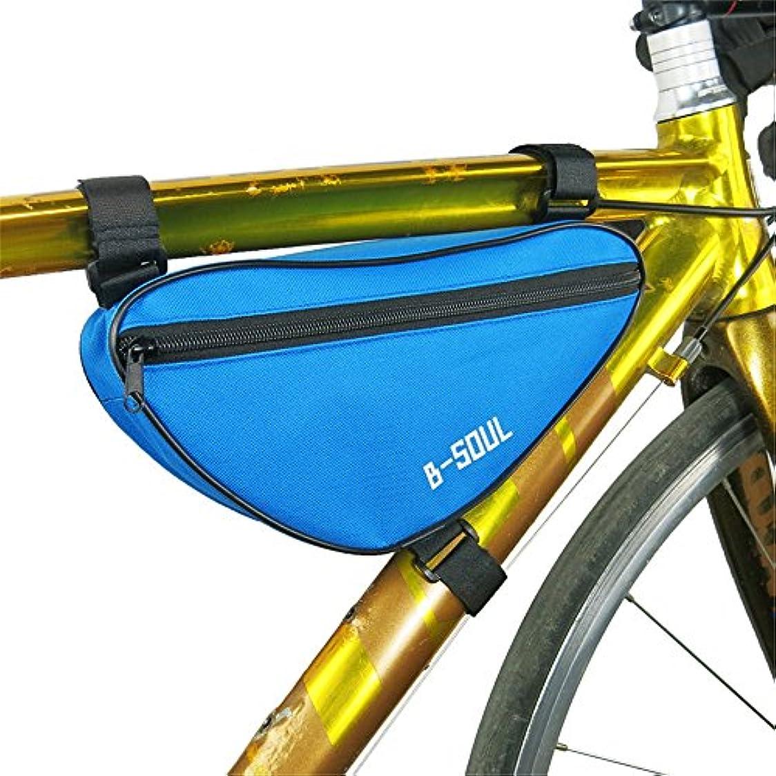 夢地球恐ろしい自転車シートパックバッグアウトドアスポーツタッチスクリーン携帯電話バッグ自転車フロントフレームマウンテンバイクサドルバッグ サイクリングバッグ防水 (色 : 青)