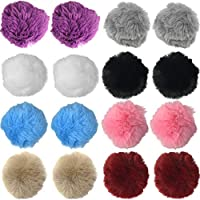 Rusoji 16pcs 8CM Faux Fur Fluffy Pom Ball for Keychain, Keyring, Knitting Hat, Scarves, Shoes, Handbag Charm Accessories, Mobile Phone Tag, and DIY Project