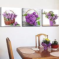 キャンバス絵画 植物紫の花の風景 モダンフレームポスター アートパネル 静物 フラワーブルー 3枚 インテリア絵 おしゃれ壁アート プリント壁飾り 壁掛け 写真印刷の装飾 背景絵画 贈り物,60x60cmx3(フレームなし)