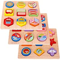 HuaQingPiJu-JP 子供のためのカラフルな木製の幼児の幾何学的形状の認知ボード教育パズル