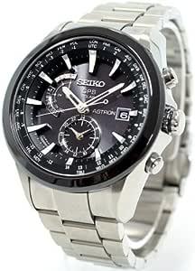 [セイコーウォッチ] 腕時計 アストロン ソーラー GPS 衛星電波修正 ブライトチタン 黒×白ダイヤル サファイアガラス スーパークリアコーティング SBXA003 シルバー