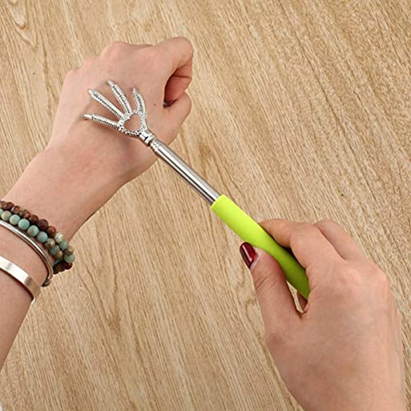 にぎやか試みるモールス信号Compact Telescopic Claw Stainless Steel Massager Back Scratcher 22-58cm Adjustable Back Scratching Massage Hand...