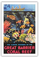 "Pacifica Island Artクイーンズランド、オーストラリア – The Marine Wonders of the Great Barrier Coral Reef – ヴィンテージ世界旅行ポスターbyフレデリックPhillips c.1933 – Fineアートプリント 24"" x 36"" Premium Giclée APPH3236"