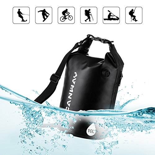 防水バッグ アウトドア用バッグ スポーツ用 釣り用 斜め掛け ブラック 防水 袋 ドライバッグ 収納 10L