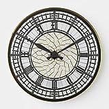 "Classic Wood Clock, Non Ticking Clock 12"" London Big Ben Wooden Decorative Round Wall Clock Face"
