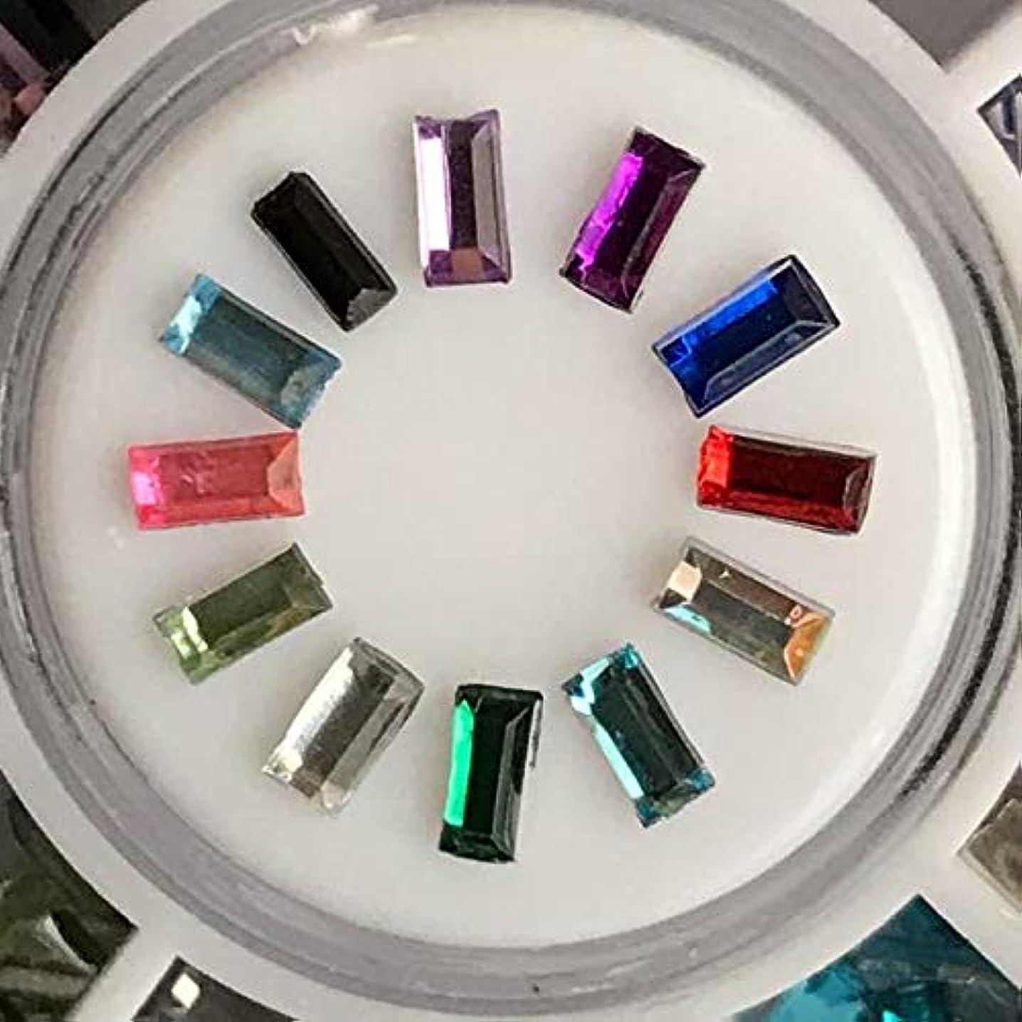 ハッチドロップトンネルアクリルラインストーン12色セットネイル用DIYアクセサリーハンドメイド素材パーツ (細い長方形スティック)