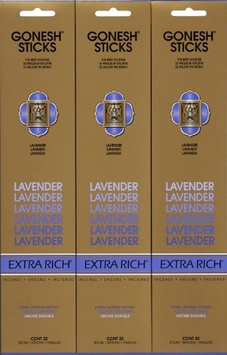 フルート無効本を読むGONESH LAVENDER ラベンダー スティック 20本入り X 3パック (60本)