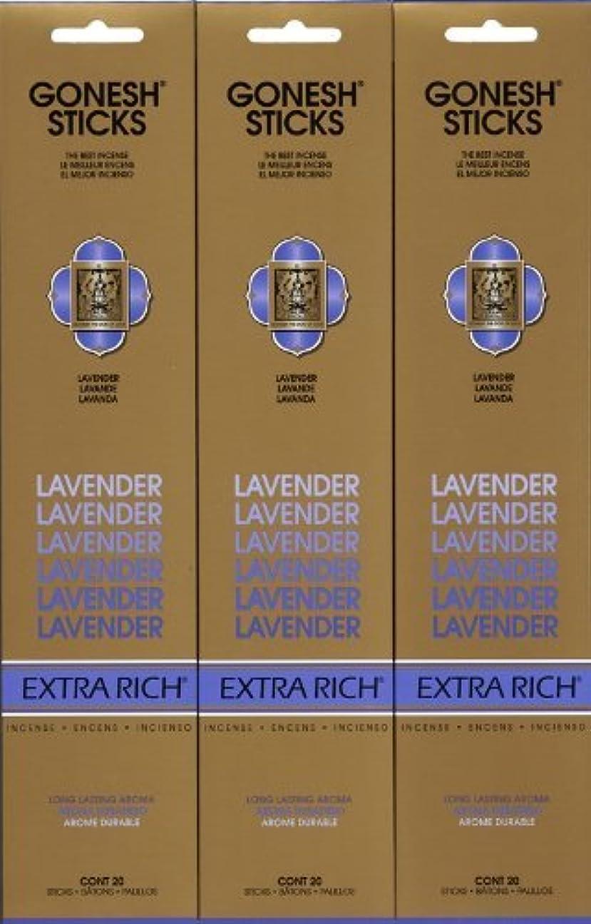 不完全な動的ボンドGONESH LAVENDER ラベンダー スティック 20本入り X 3パック (60本)