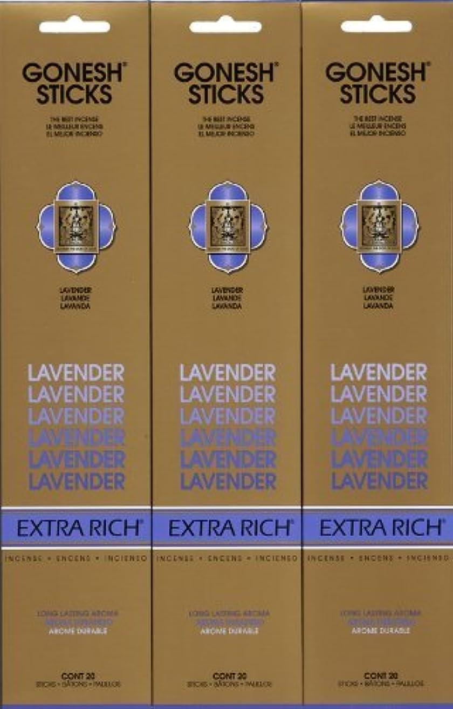 晴れ期待するフレームワークGONESH LAVENDER ラベンダー スティック 20本入り X 3パック (60本)