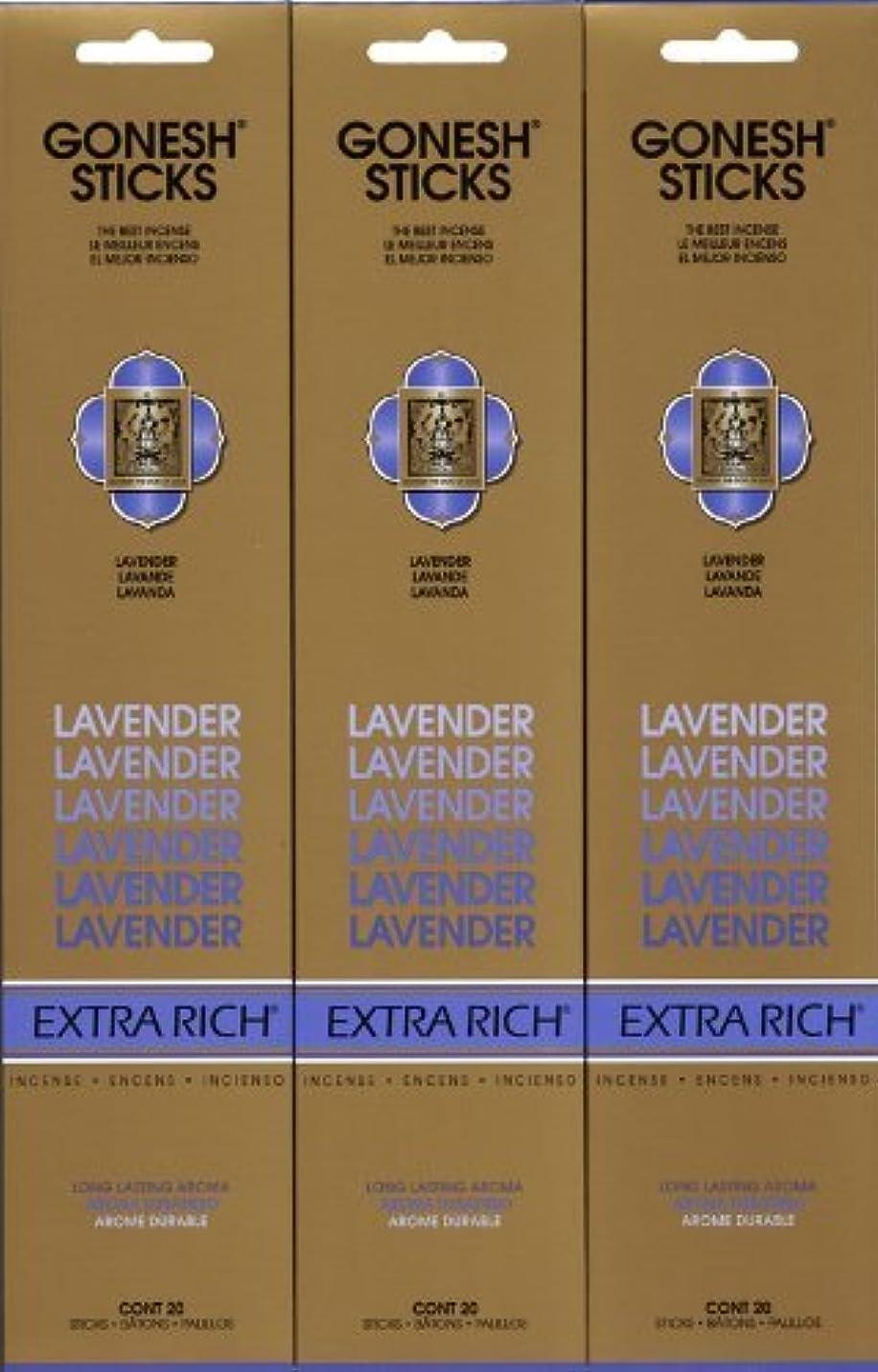 小さなキー口ひげGONESH LAVENDER ラベンダー スティック 20本入り X 3パック (60本)