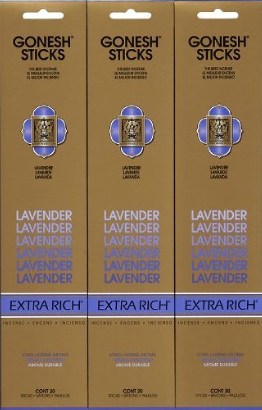 適切に迫害彼のGONESH LAVENDER ラベンダー スティック 20本入り X 3パック (60本)