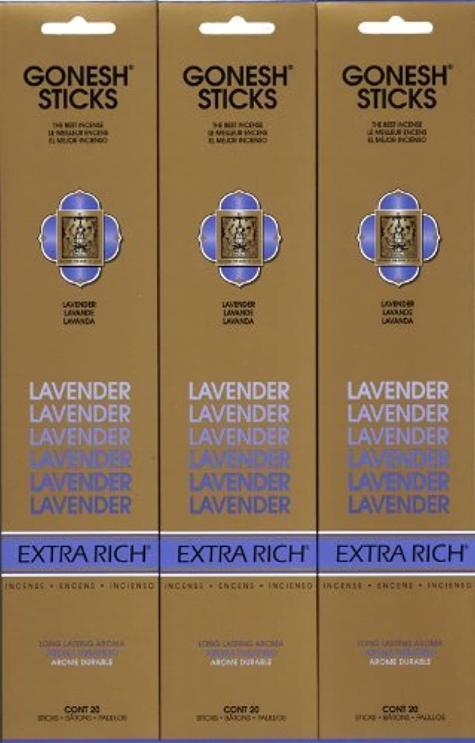 クライストチャーチ観光ペニーGONESH LAVENDER ラベンダー スティック 20本入り X 3パック (60本)