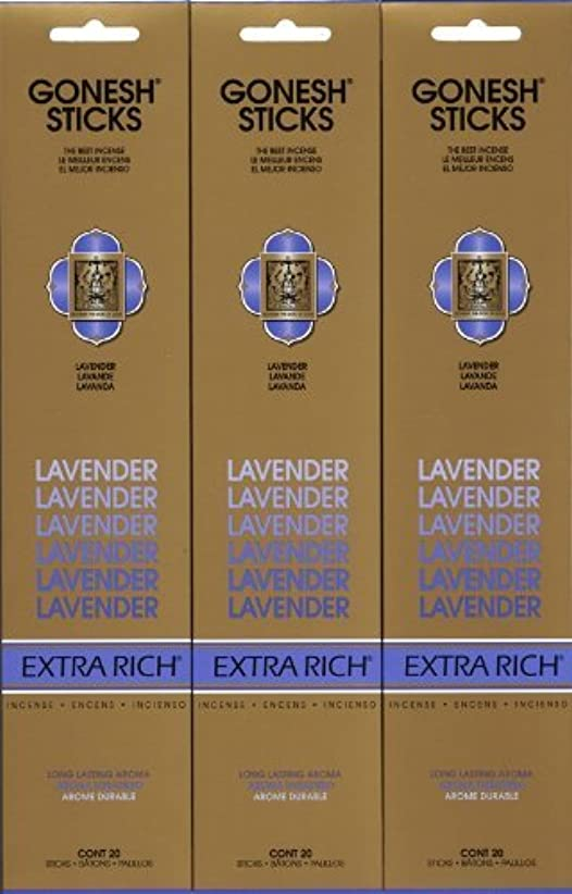 不愉快に染色うつGONESH LAVENDER ラベンダー スティック 20本入り X 3パック (60本)