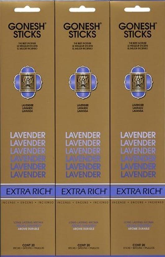 動く素人不格好GONESH LAVENDER ラベンダー スティック 20本入り X 3パック (60本)