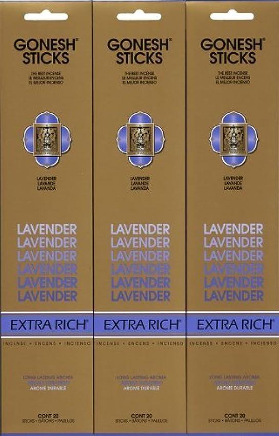 トランク写真強大なGONESH LAVENDER ラベンダー スティック 20本入り X 3パック (60本)