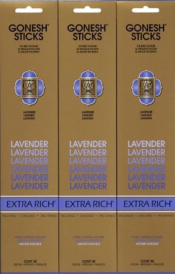グレー勤勉なアクセサリーGONESH LAVENDER ラベンダー スティック 20本入り X 3パック (60本)