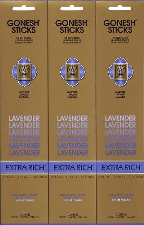 リラックス大学院準備GONESH LAVENDER ラベンダー スティック 20本入り X 3パック (60本)