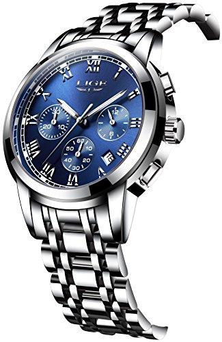 [スポテレン]SPOTALEN 腕時計 ビジネス LIGE9810 メンズ ウォッチ 銀色 ステンレス バンド