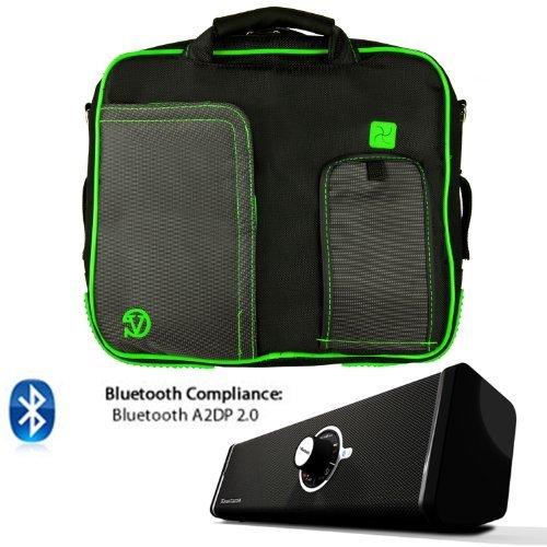 PINDAR Nylon Messenger Shoulder Carrying Bag (Green-Trim) For ACER A200 A211 A210 A500 A501 A510 A700 ICONIA W500 Tablet + Bluetooth Speaker [並行輸入品]