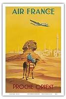 近東 - エアフランス - ロッキードコンステレーションは、スフィンクスを飛びます - ビンテージな航空会社のポスター によって作成された ヴィンセント・グエラ c.1948 - アートポスター - 31cm x 46cm