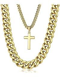 Trendsmax 14mm メンズ 喜平ネックレス セット チェーン 十字架 クロス ペンダント ステンレス 喜平チェーン カットチェーン カラー:ゴールド