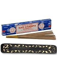 すぐに使える!SATYAサイババナグチャンパ15g 1箱/スティックお香とカラフル平型お香立てセット (ブラック)