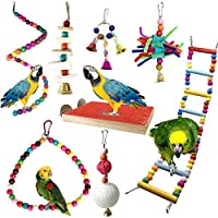 PietyPet Bird Cages Accessories 8pcs Colorful Bird Perch Stand Platform Wooden Ladders Hammock Swings Bird Parrot Toys with Bells for Small and Medium Birds Parrots [並行輸入品]