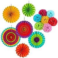 13pcsペーパーフラワー フラワーポンポン 紙扇子 ハニカムボール飾り付け 誕生日 結婚式 保育園 夏のパーティー ベビーシャワーのデコレーション